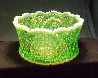 Imperial Glass Green Iridized Vase