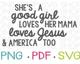 Tom Petty Shirt, SVG, Good Girl, Loves Jesus, Womens Shirt, Kids Shirt, Silhouette File, Cricut File, SVG, Clip Art, Typography