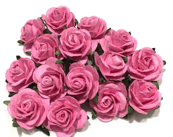 Deep Pink Open Mulberry Paper Roses Or110
