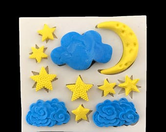 Silicone Clouds, Stars and Moon Mold