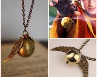 HARRY POTTER INSPIRED Quidditch Golden Snitch Vintage Bronze Necklace