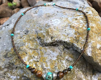Turquoise and Tigers Eye Beads on a Bronze and Turquoise Seedbead Necklace