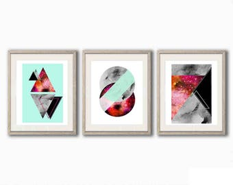 Set of 3 Geometric Watercolour Marble Prints, Pink, Mint and Grey (A5)