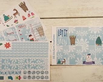 December Happy Planner Weekly kit, Winter, Snow, Snowflakes, Penguins