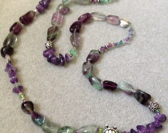 sea turtle bead necklace with Gemstones and silver beads