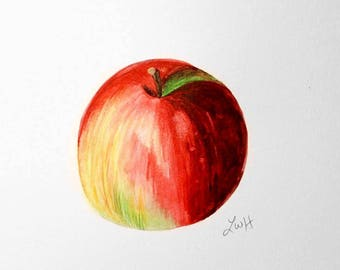 Apple Fall Watercolor Painting