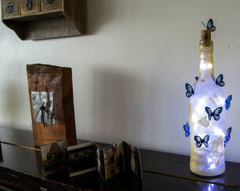 Blue Butterfly Rustic Gold Up-cycling bottle light.