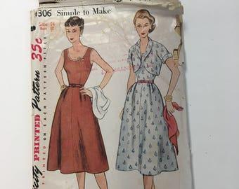 Simplicity 4306 / Vintage 1950s Sewing Pattern / Dress And Bolero jacket