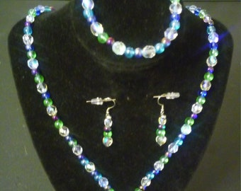 Blue Clear Glass Beads