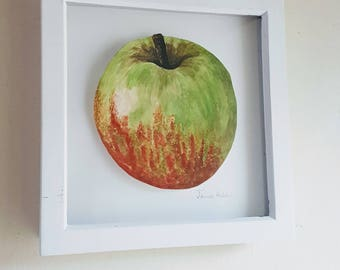 """Green & red apple...8 x 8"""" square.. great for the kitchen!"""