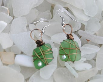 Kelly Green Sea Glass Earrings