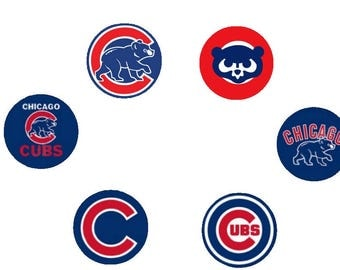 Chicago Cubs Cupcake Toppers Happy Birthday Toppers Chicago Cubs Logo Birthday Boy Cupcake Toppers