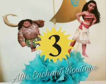 Moana Centerpiece Moana Birthday Party Moana Party Decorations Moana and Maui Table Decorations Moana Table Centerpiece