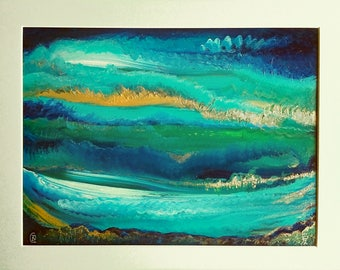 Abstract Wave Painting, ocean waves painting,  stormy ocean painting, ocean seascape paintings, original art pieces, blue art painting