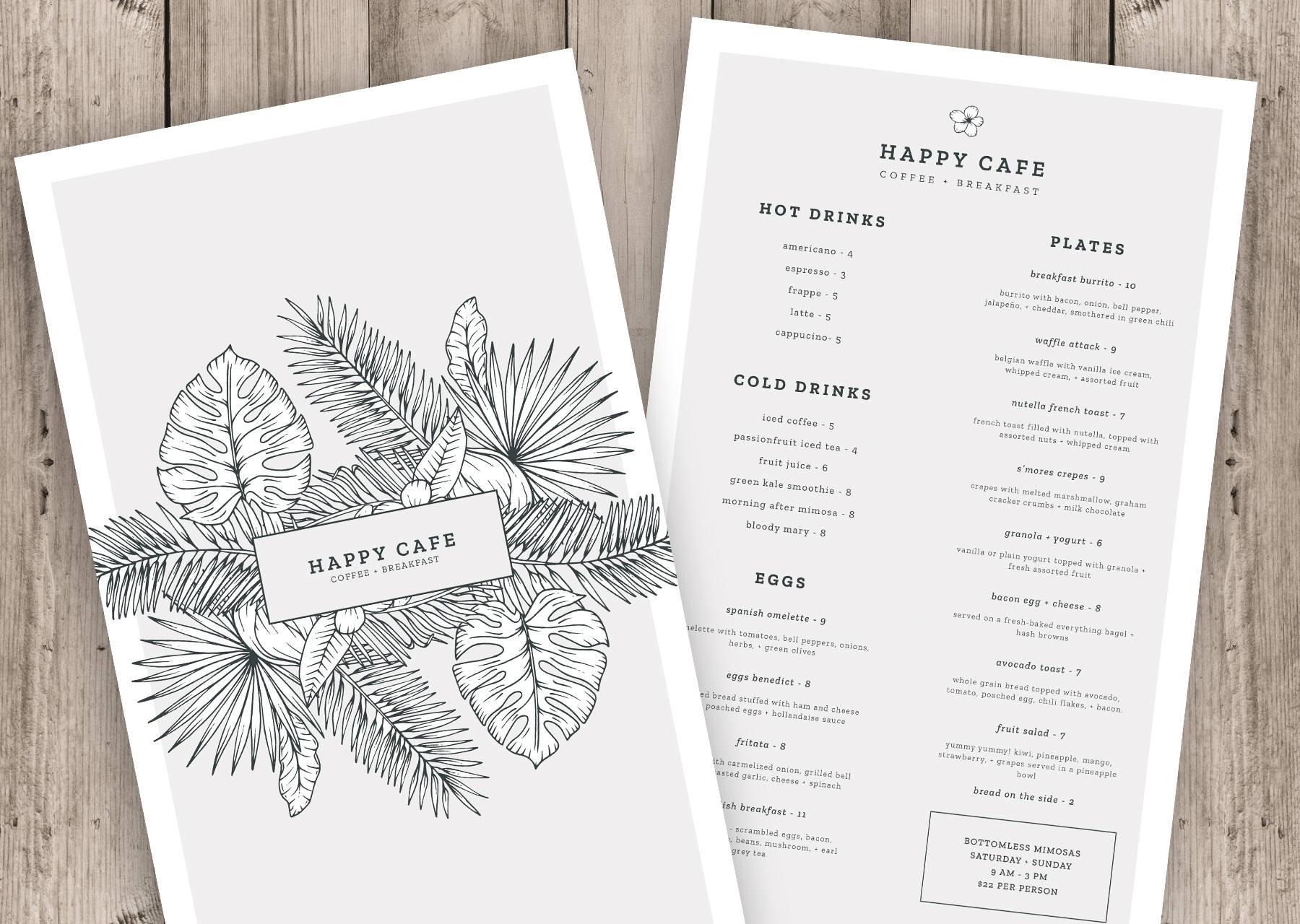 menu template instant download photoshop template restaurant. Black Bedroom Furniture Sets. Home Design Ideas