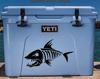 Cooler decal etsy for Fishing yeti decal