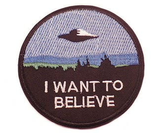 """FREE SHIPPING-Domestic-InspireMeByAudrey The X Files I Want To Believe Embroidered Iron/Sew On Patch 3"""""""