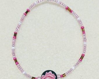 Pink Rose Beaded Stretch Bracelet