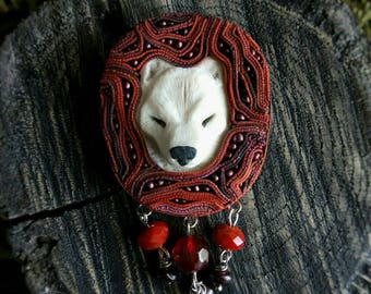 Wolf brooch  White wolf jewelry  Red brooch  Polymer clay wolf brooch Wolf  jewelry handmade Animal jewelry  Brooch-pendant  A gift for her