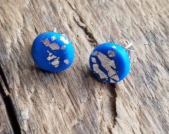Electric Blue and Silver Leaf Accent Post Earrings, FREE Shipping in US