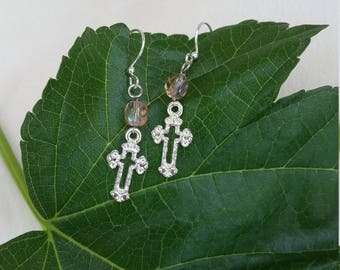 Cross Earrings with Rose-Colored Beads