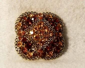 Amber rhinestone vintage metal brooch