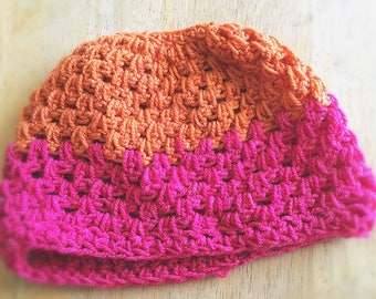 Crochet Pink and Orange Ponytail Slouchy-Slouchy Hat-Ponytail Hat