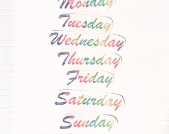 Rainbow Tye Dye Days of the Week Stickers
