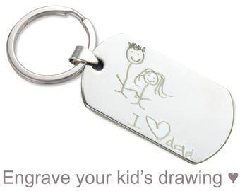 Personalized keychain - kids drawing keychain, handwriting keychain, groomsmen gift, teacher Birthday gift for him, Christmas gift for her