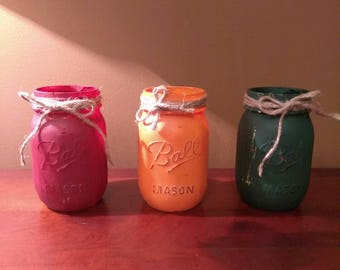 Set of 3 Hand Painted Mason Jars - Fall Colors with Twine on Top