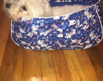 Patriotic Red, White, and Blue Large Dog Tote Bag, Pet Carrier, Dog Sling, Messenger Bag