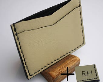 Handmade leather cardholder with engraved initials