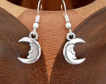 Earrings small silver Moon antique, antique silver Moon clips