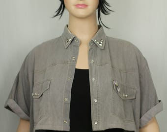 Upcycled cropped grey denim shirt with studs/badges in a plus size/free size