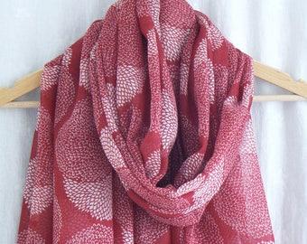 Red Dahlia Flower Scarf Wrap Shawl Floral Pattern Print Headscarf