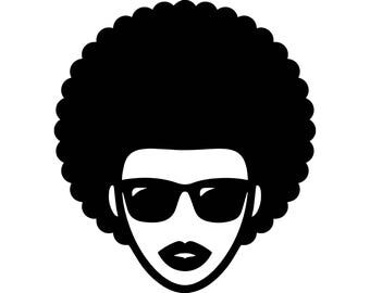 Black Woman Afro Hair Beautiful Nature Person African Happy  Lady.SVG .EPS .PNG VectorSpace Clipart Digital Download Circuit Cut Cutting