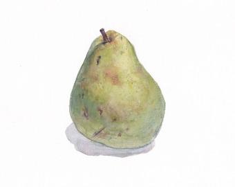 Original botanical watercolor / Pear / Tiny watercolor / Realistic fruit art / Watercolor fruit /  Original watercolor artwork / Green pear