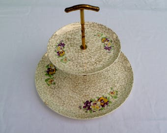vintage w.s. george 2 tier dessert tray with pansies and gold trim