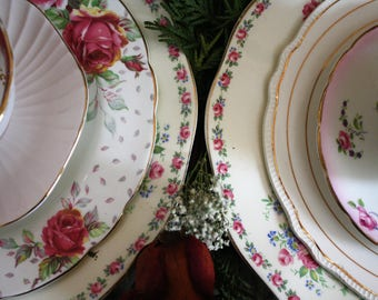 Mismatched Plates Shabby Chic Table Settings Set Of 2 Valentines Day Vintage