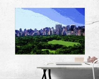 Summer in the Central Park, NYC - Modern Art Painting - Canvas Print