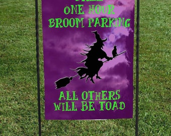 "Halloween Witch Flag, Free One Hour Broom Parking, All others will be Toad, Purpl Night Sky, Witch on Broom Silhouette, 12""x18"" Garden Flag"