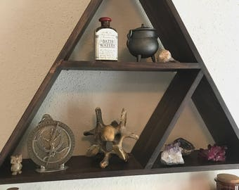 Distressed Coffee Pyramid Shelf
