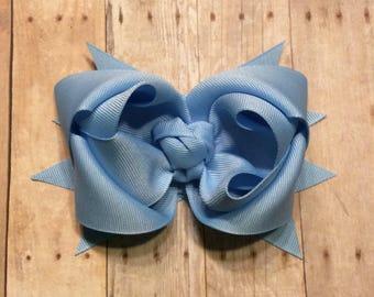 Light Blue Hair Bow, School Uniform Bow, Blue Hair Bow for Girls
