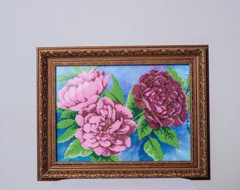 """Picture embroidered beaded flowers peonies """". Handmade."""