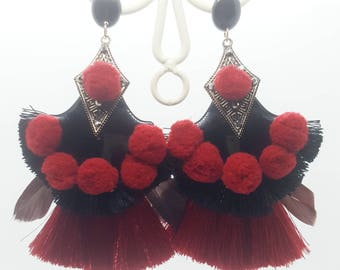 Boho earrings black and blood red mix vintage