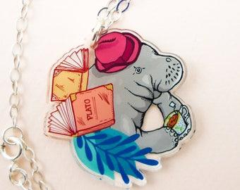 Manatee jewelry, Manatee necklace, Manatee, cute manatee, animal jewelry, manatee, cool necklace, quirky gift, quirky jewelry, manatee art