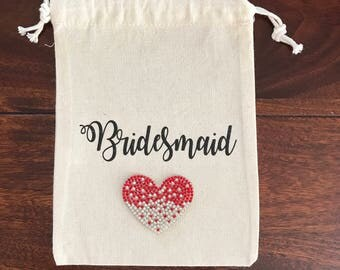 Bridesmaid Bag with Red Heart, Wedding Bag, Mother of the Bride Bag, Maid of Honour Gift, Bridesmaid Gift, Bridal bag, Wedding favor bags