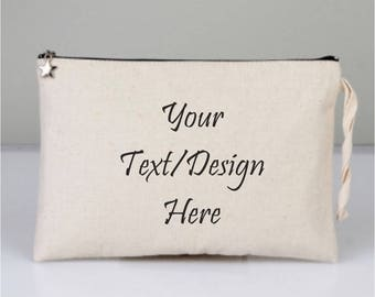 Logo Text Bags, Personalized Business Bags, Any text bags, Any image Bags, Brand Bags, My Logo Bags, Cosmetic Bags, Cotton Clutch