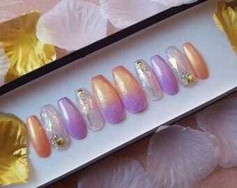 Summer at the Beach nail set- nail charms, gold chrome, swarovski crystals, iridescent, glitter, fake nails, false nails, press on nails