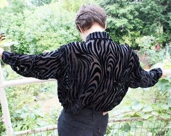 Vintage Jaeger semi transparent shirt / Vintage Jaeger black transparent Shirt